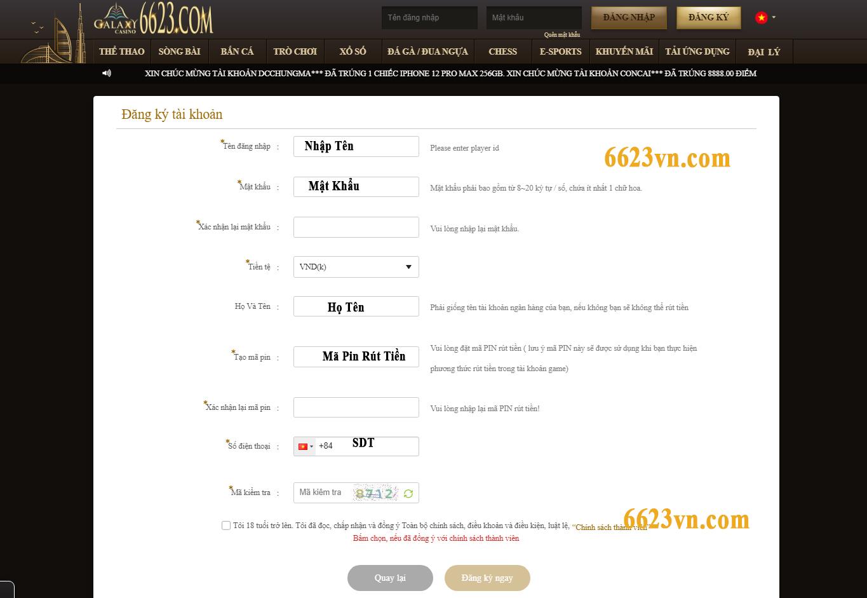 hướng dẫn đăng ký tài khoản tại Galaxy 6623