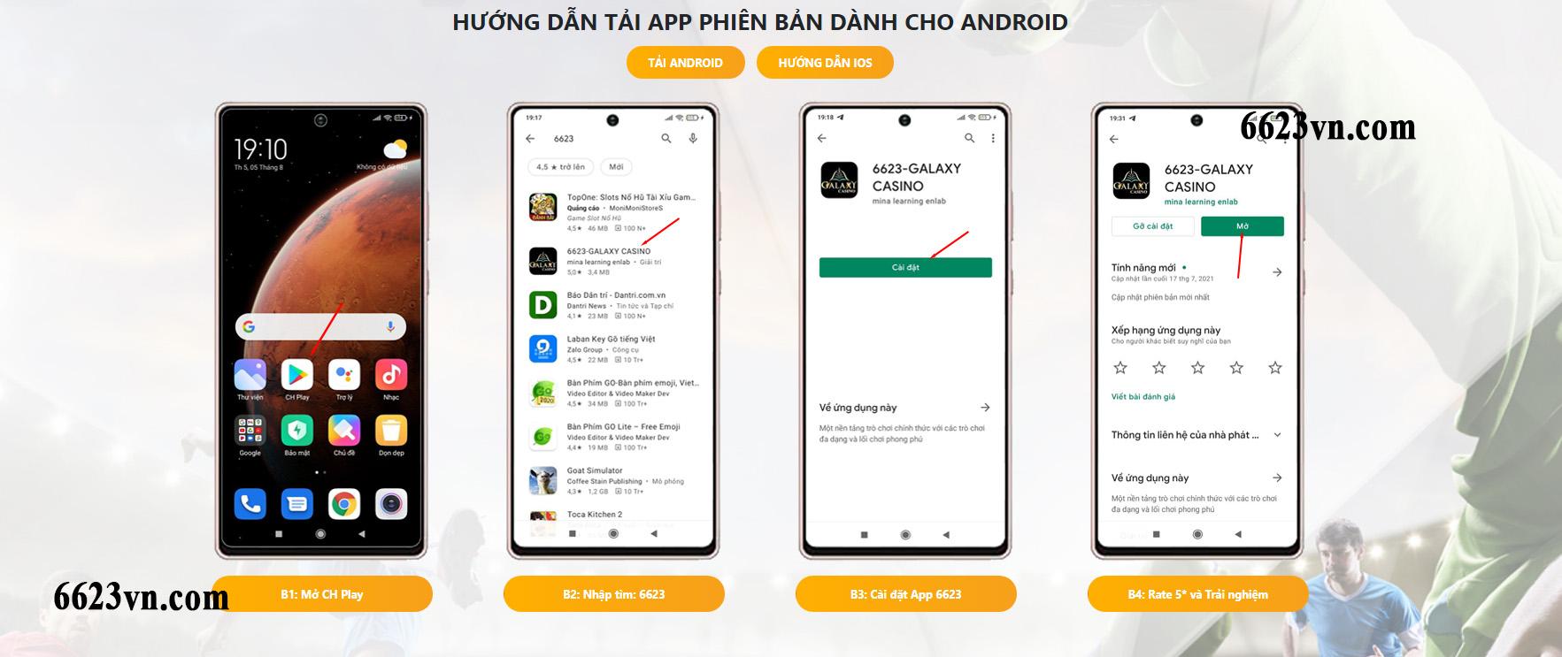 Tải App ứng dụng Galaxy 6623 về điện thoại đơn giản