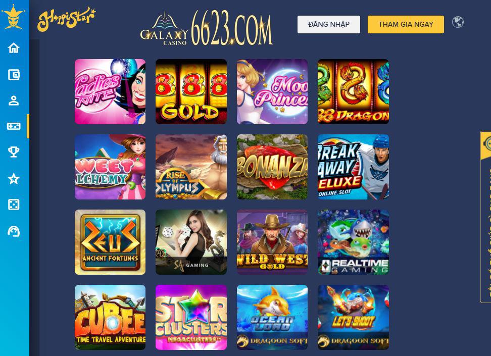 HappiStar nổi tiếng với kho Slot Games hấp dẫn